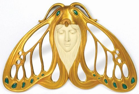 ART NOUVEAU DECORATIVE BUTTERFLY WALL MIRROR-FIGURINE-STATUE (6720)