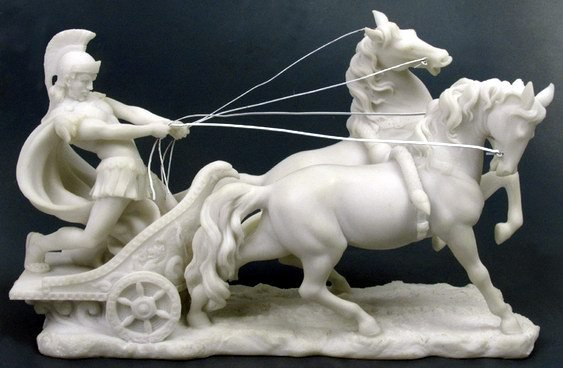 ROMAN CHARIOT-GREEK FIGURINE-STATUE (6687)