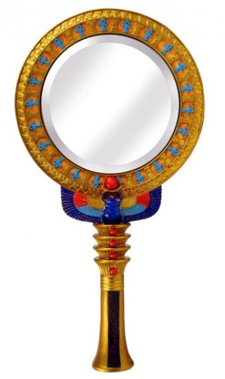 EGYPTIAN HAND MIRROR-VERY DETAILED-FIGURINE-STATUE (6766)