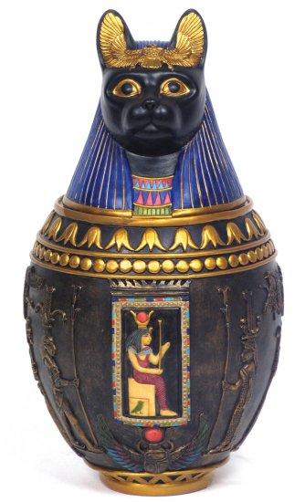 BASTET-CERAMIC CANOPIC JAR-EGYPTIAN FIGURINE (6941)