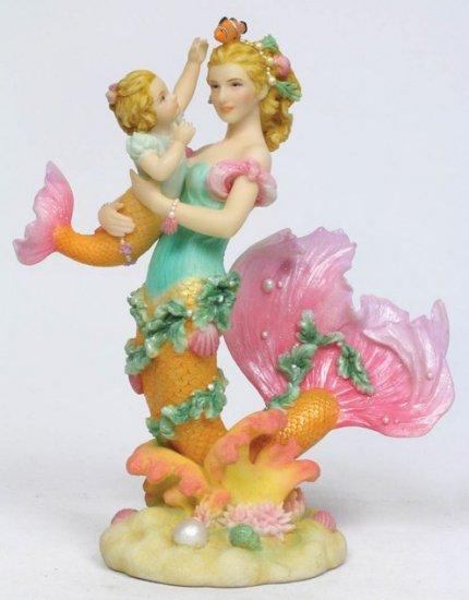 SEA MERMAID W BABY MERMAID STATUE-FIGURINE (7013)