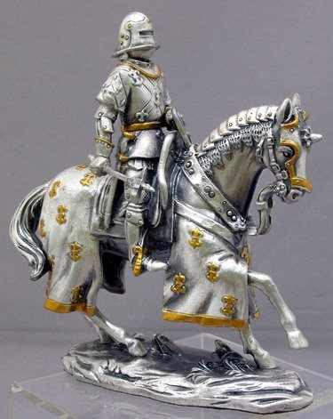 MEDIEVAL KNIGHT ON HORSE-FIGURINE-STATUE PEWTER (6753s)
