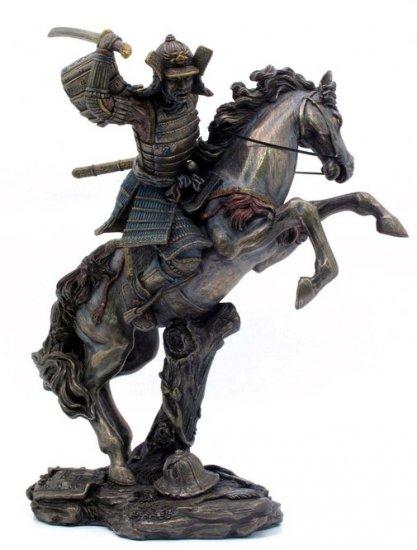 JAPANESE SAMURAI WARRIOR ON HORSE BRONZE LIKE STATUE-FIGURINE (6864)
