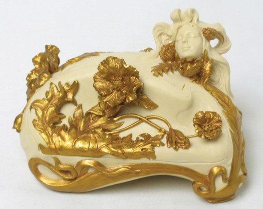 ART NOUVEAU LADY JEWELRY BOX (6934)