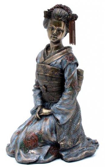 JAPANESE GEISHA KIKUYA BRONZE LIKE STATUE-FIGURINE (6959)