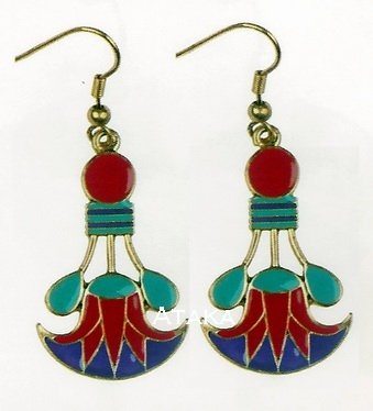 ANCIENT EGYPTIAN CLEOPATRA LOTUS EARRING (2438S)