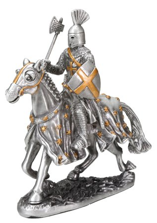 MEDIEVAL KNIGHT ON HORSE W AXE AND SHIELD-FIGURINE-STATUE PEWTER (6750s)
