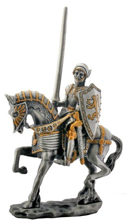 MEDIEVAL KNIGHT ON HORSE-FIGURINE-STATUE PEWTER (6175S)