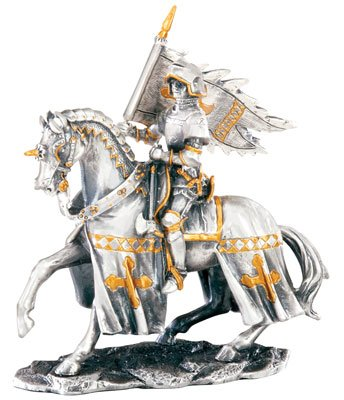 MEDIEVAL KNIGHT ON HORSE W FLAG-FIGURINE-STATUE PEWTER (6752s)
