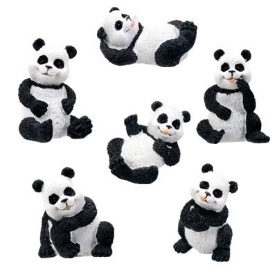 SET OF 6-PANDAS-FIGURINES-DISPLAY-FUN (5383s)