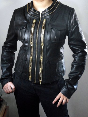 women leather jacket golden zippers by Ruby Leather