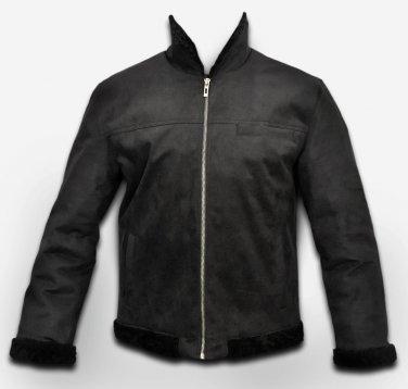 The Custom made black sheepskin leather jacket for men