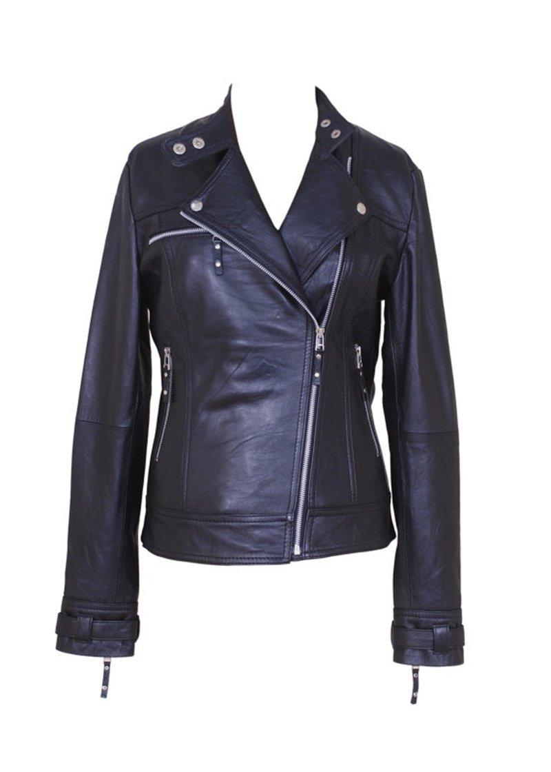 women leather biker jacket celebrity black leather jacket collarless leather  jacket