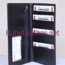 Cowhide Leather bifold leather wallet black color multiple pockets