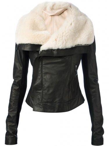 shearling Leather jacket ladies sheepskin fur Leather jacket