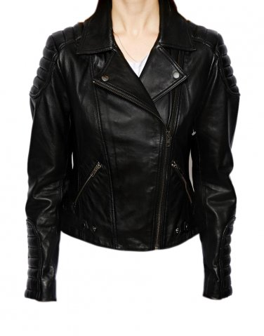 Women 2015 biker leather jacket quilted sleeves n shoulders Free Shipping to Australia & NewZealand