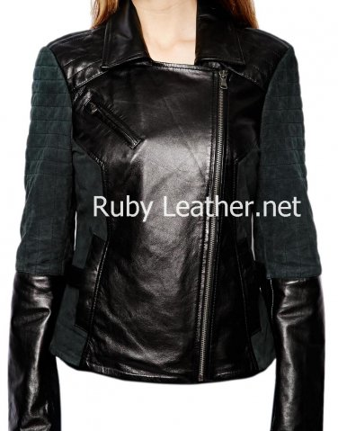 Women leather jacket with suede leather sleeves Free Shipping to Australia & New Zealand