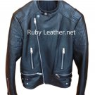 Men Cowhide biker jacket heavy cow leather jacket Free Shipping to Australia & New Zealand