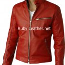 Men bomber leather jacket Red color jacket Free Shipping to Australia & NewZealand