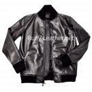 Men Black Classic Leather Jacket with Knitted sleeves Free Shipping to Australia & NewZealand