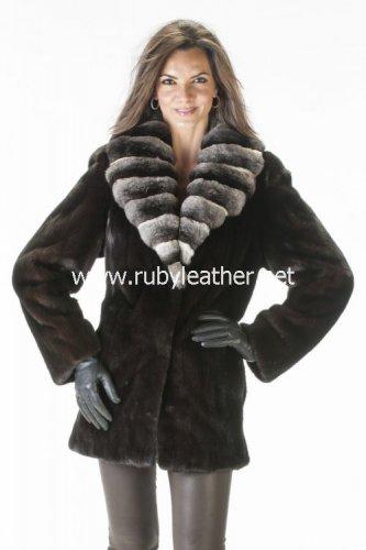 women winter fur coat, mink fur coat, Chinchilla fur Collar, coat