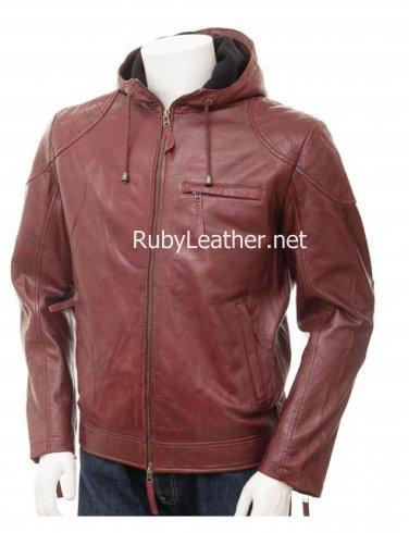 Men Oxblood Hood Leather jacket , Men Leather jacket,leather jacket with hood.