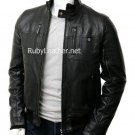 Men Black Bomber leather jacket.Men's Bomber Leather Jacket in Black