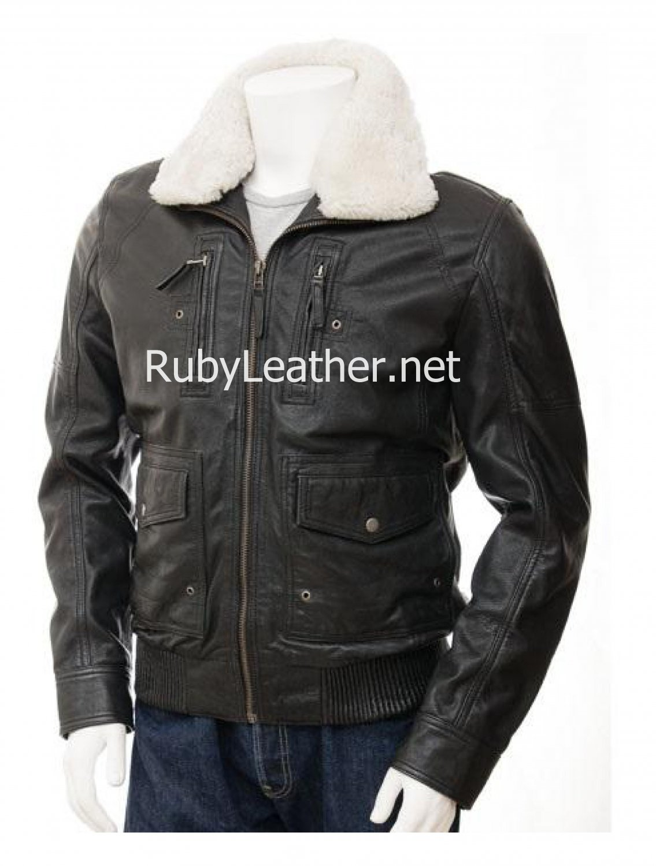 Men Black Leather Jacket with detachable fur collar