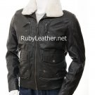 Men Black Leather Jacket with detachable fur collar