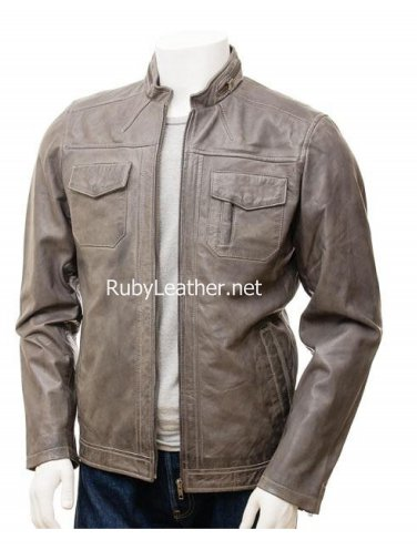 Men Grey Leather Jacket,