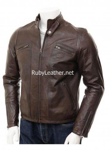 Brown Leather Biker JAcket for Men