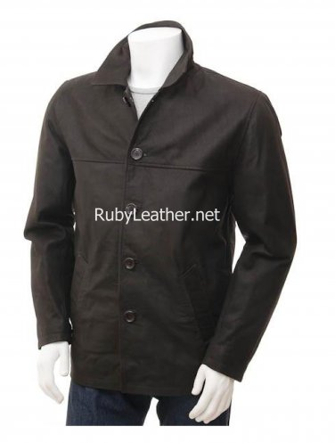 Brown Cow leather coat for  Men.