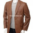 Men's Tan color Leather Blazer , Men Leather coat.