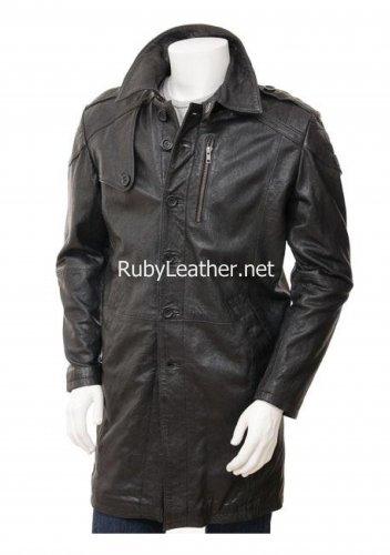 Men's Brown Leather coat , Men Leather coat.