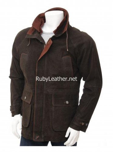 Men's Brown Leather coatwith quilting details , Men Leather coat.