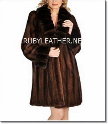 brown Mink with chinchilla collar, ladies fur coat , mink fur coat for women
