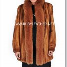 Golden Mink with Golden Fox fur collar, ladies fur coat , mink coat for women