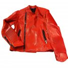 "Men red color oversized motorbike leather jacket with quilted padding ""Free Shipping WORLDWIDE"""