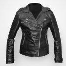 women Hot black biker leather jacket women motorbike leather jacket all sizes