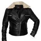 women motorbike leather jacket black biker jacket fur collar all sizes available