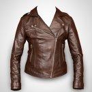women motorbike leather jacket ladies brown biker leather jacket custom made