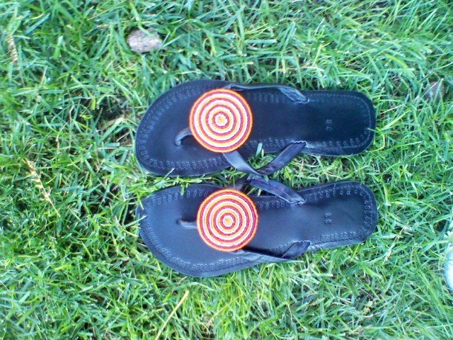 Black and red Beautiful African sandals size 6