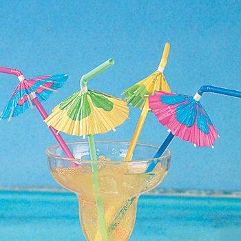 48 Multicolored Cocktail Parasol Umbrella Straws