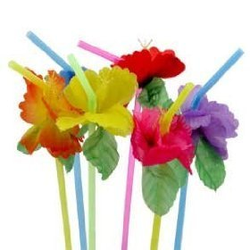 24 Multicolored Flower Bendy Straws Luau Cocktail Drink