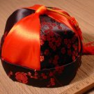 Red Chinese Mandarin Satin Hat - New Year Dragon