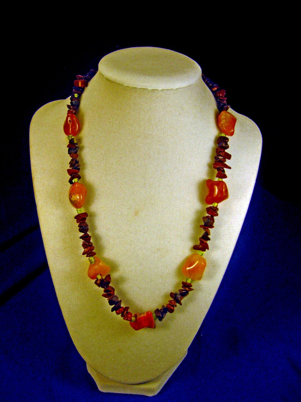 orange rock necklace    A011