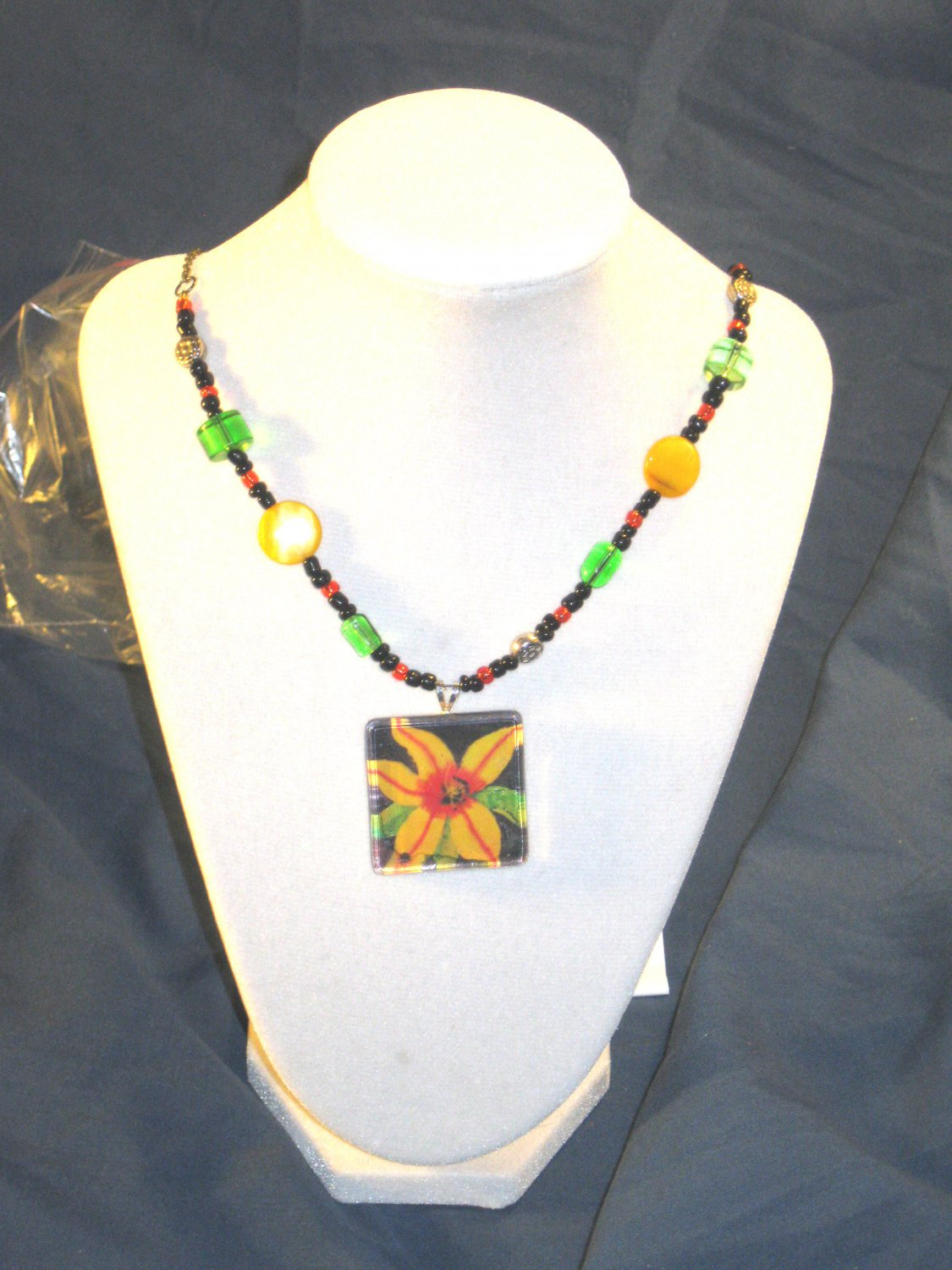 Yellow lfower pendant art and necklace     A006