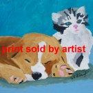 furry friends puppy and kitten art print