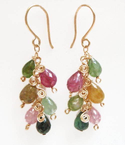 Wonderful 14kt Gold filled earnings with Tourmaline