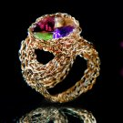 Remarkable 14kt Gold filled ring with gems
